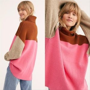 NWT Free People Colorblock Turtleneck Sweater